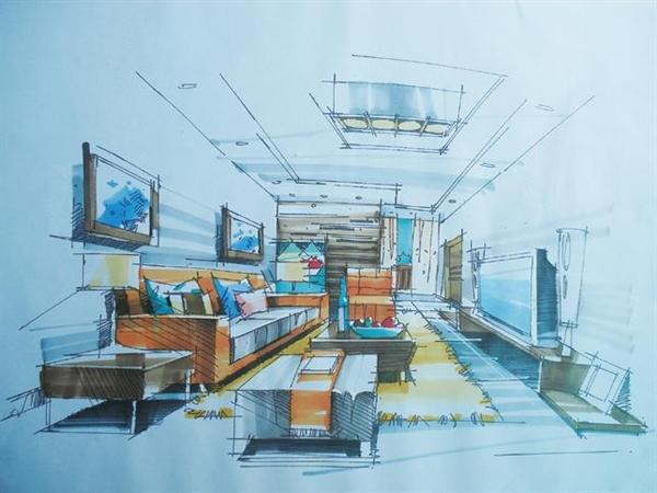 室内设计手绘效果图线稿主要工具是铅笔
